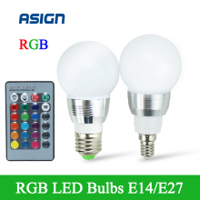 High Power RGB LED Lamp E27 E14 5W RGB Light AC85-265V Lampara Remote Control 16 Color Change+Remote Controller bombillas led