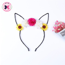haimeikang 1Pcs Black Cat Ear Hairbands Lovely Flower Ears Cat Hoop Hair Ring Cosplay Fancy Dresse Headband Style Hair Bands