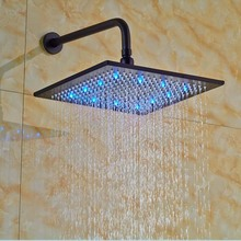 Wholesale And Retail Oil Rubbed Bronze LED Square Rain Shower Head Wall Mounted Shower Arm(China)