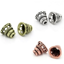 Vintage Copper Bead Caps Flower Fit 18mm  Beads Hollow Tower Pattern Caps Accessories For DIY Jewelry 3 Colors 10x9mm ,10PCs