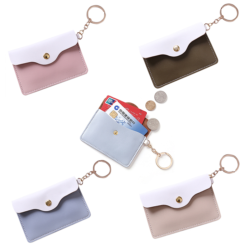 NEW Women Sweet Coin Purse Leather Slim Wallet Card Holder Coins Cover Money Bag Key Ring Mini Pouch Lady Mini Ultra-Thin Clutch