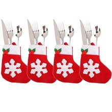 4 pcs Christmas Snowflake Stockings Tableware cover Silverware Cutlery decor (red/green)(China)