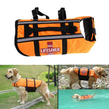 S/M/L Orange Dog Swimsuit Pet Float Life Jacket Life Vest Aquatic Safety Swimming Suit Boating Life Jacket Pet Products(China)