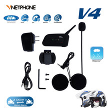 1PCS 1200M 4 Riders Same Time talking Bluetooth Motorcycle Intercom Headphone V4 BT Interphone Helmet Headset Communicator Moto