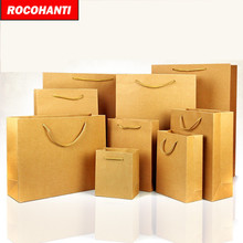 100x Custom order kraft paper bag for tea / gift / clothing retail packaging(China)