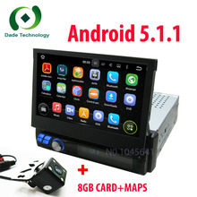 Anadoid 5.1.1 1 DIN Car DVD Player auto radio GPS Touch Stereo WiFi 3G Radio automotive+free car rear view camera and 8GB map