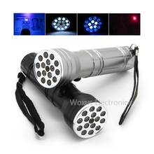 Black & Silver 3 in 1 White Light LED Flashlight + LED UV Flashlight + Red Laser Pointer Pen 15 LED Portable Torch Light