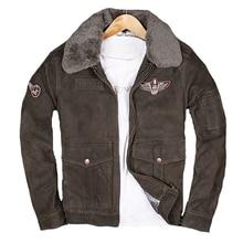 2018 Men Flight Pilot Leather Jacket Wool Collar Plus Size XXXL Genuine Sheepskin Russian Aviator Leather Coat FREE SHIPPING