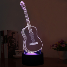 New Colorful color guitar acrylic lamp Beautiful 3D Effect Guitar Shape LED Night Lights with Micro USB Lamp as Chirstmas Gifts(China)