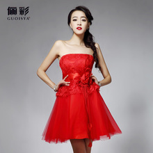 31406 short red pink with lace girls cocktail dresses for party 2014 new arrival strapless with bow fashion