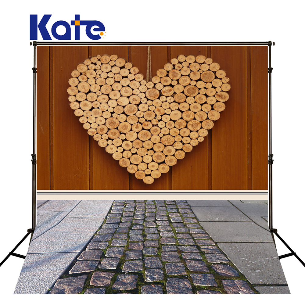 5x7ft Kate Photography Backdrops Wood Wall and Wood Floor Backdrop Valentines Day Photo Studio for Children Backdrop<br>