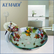 KEMAIDI Modern Tempered Glass Vessel Faucet Bowl +Pop-up Drain Waterfall Spout Round Sink Bathroom Basin Sink Faucet Mixer Tap(China)