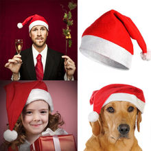 Christmas Santa Hat Velvet Red And White Cap for Santa Claus Costume Adult Children Christmas Hat
