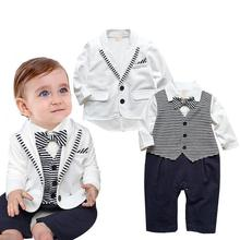 2017 Gentleman Baby Boys Clothes Set Stripe Baby Rompers + White Coat 2pcs Baby Boy Clothing Party Wedding Formal Tuxedo Suits
