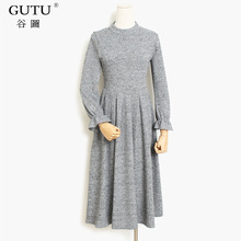 [GUTU] 2018 Autumn spring Pleated Fragrant Full Sleeve O-neck Knitting Solid Color Dress Empire Waist Women Fashion Cloth B90201(China)