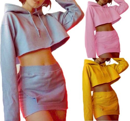 Women-Fashion-Casual-Hoodie-sweater-Crop-Tops-pencil-skirt-Mini-dress-Pullover