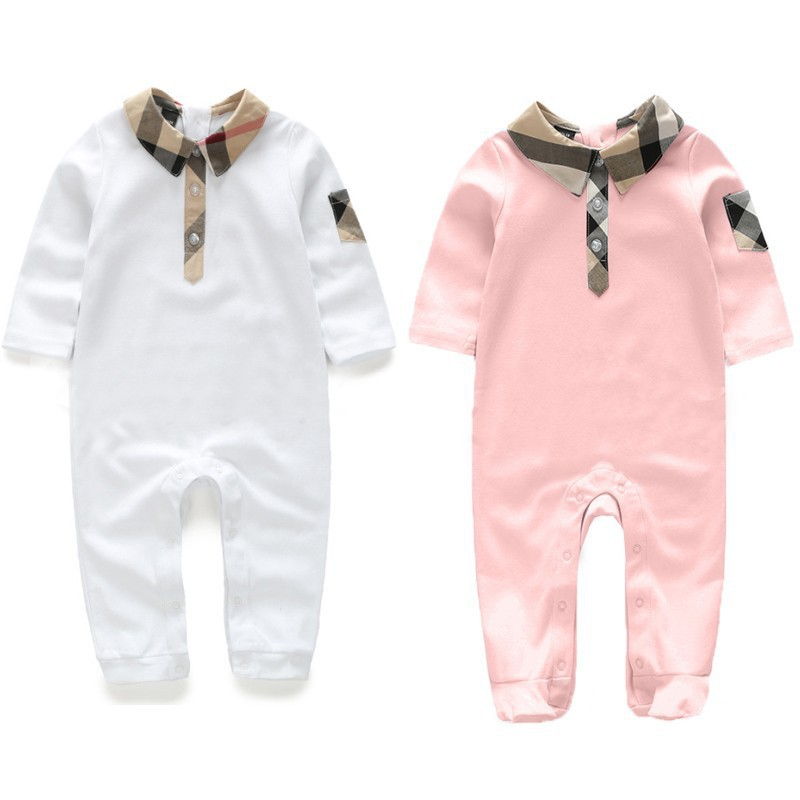 2017 Spring and Autumn new baby HaYi lattice lapel long - sleeved baby jumpsuit cotton baby climbing clothing<br><br>Aliexpress
