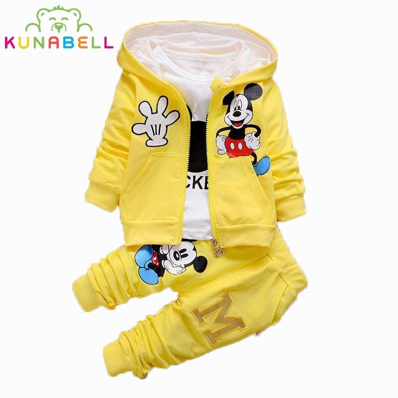 Baby Girl Boys 3pcs/suit Spring Children Clothing Set Cartoon Mickey Kids Boy Girl Long Sleeve Coat+Shirt+Pants Clothes Set D009<br><br>Aliexpress