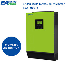 EASUN POWER 110V Grid Tie Inverter 2400W 24V Solar Inverter 2000W MPPT Inverters Pure Sine Wave Hybrid Inverter 40A AC Charger(China)