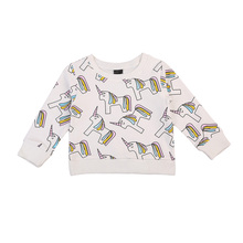 2017 New Arrival Hot Warm Toddler Kids Baby Girls Autumn Winter Sweatshirt Tops Unicorn Hoodies Clothes 1-7Y