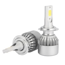 2PCS High Quality C6 H7 COB Chip LED Car Headlight Bulbs 72W 8000LM Auto Head Lamp Kits 12V Cool White
