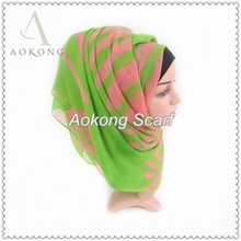 Lovely cute pink and green zebra printed voile hijab scarf