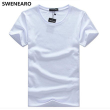 SWENEARO Men's T-Shirts 2018 New product summer brand Men t Shirt Short Sleeve Solid color Cotton Tee shirts Men plus size 5XL(China)