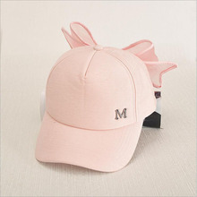 HOT Korea Spring Cap M mark Pink Hat With Big Bow Bending Brimmed Hat Baseball Caps Visor Women And Girl Sun Hat