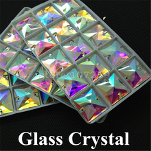 96pcs/box 16mm Crystal AB Color Sew On Rhinestones Flat Back Glass Gems Square 2 Holes Strass Stones For Clothing Crafts