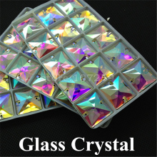 96pcs/box 16mm Crystal AB Color Sew On Rhinestones Flat Back Glass Gems Square 2 Holes Strass Stones For Clothing Crafts(China)
