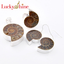 Luckyshine Unique Dazzling Natural Ammonite Fossil Gems Silver Plated Earrings Rings Pendants necklaces Wedding Jewelry Sets