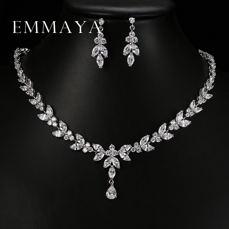 Emmaya Luxury Crystal Zircon Wedding Jewelry Sets African Jewelry Sets Choker Necklace Earrings for Women Free Shipping title=