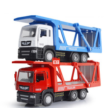 Simulation 1:50 scale Flatbed trailer container truck model diecast car pull back alloy toys with musical & light for kids gifts