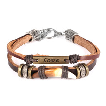 Woman's Fashion Accessories Multilayer Leather Bracelets with Wolf Tooth + Love Design Charm Jewelry PH1028