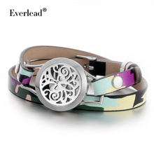 EVERLEAD trendy real leather bracelet stainless steel essential oil diffuser locket men charm bracelet jewelry 2017 new arrival(China)