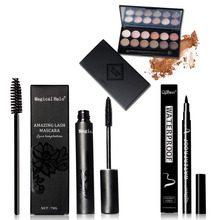 3 pcs Value Eyes Makeup Cosmetics Set Gift 12 Color Eyeshadow Mascara Eyeliner Makeup Combination Eyes Makeup Tool Kit