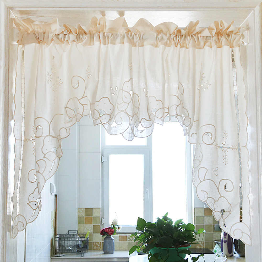 Roman Curtain Drawnwork Hollow Embroidery Retro Big Hem Cotton Christmas curtain Triangular Curtain for Kitchen Cabinet Door