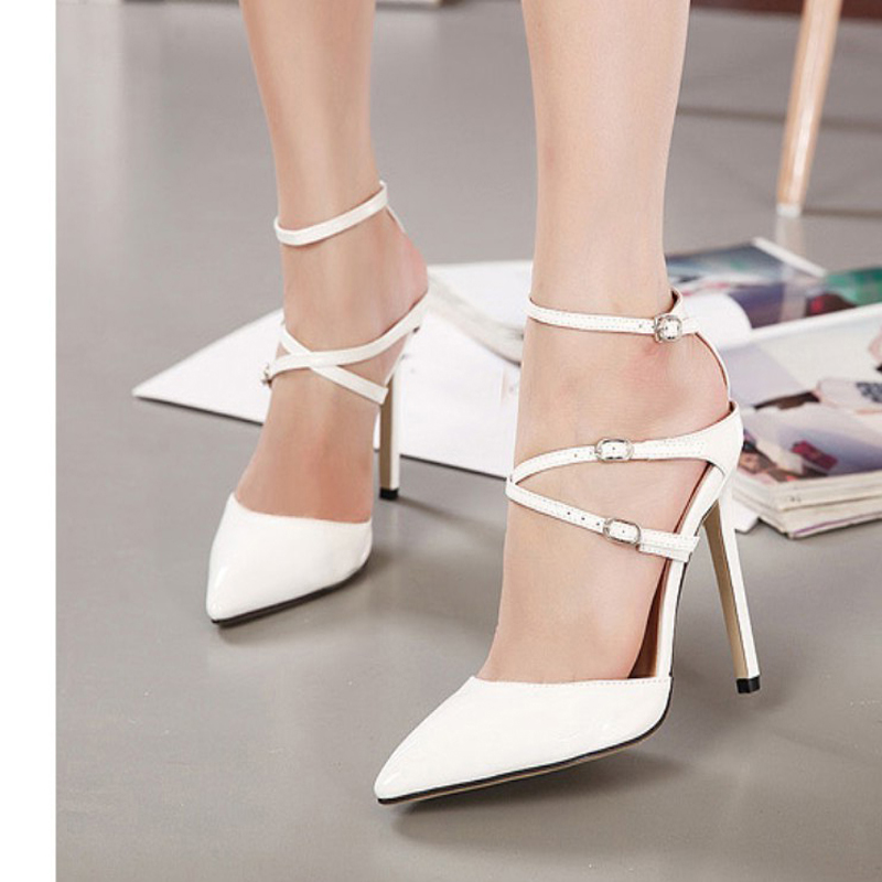 2017 Sexy New Belt Pointed Toe Sandals Woman High Heels Summer Shoes Cross Strap Women Wedding Party Shoes Pumps Black&amp;White<br><br>Aliexpress