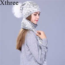 Xthree Chinese style winter scarf hat set Thick Double-deck Warm wool Knitted hat scarf for women big real mink fur pom pom(China)