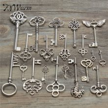 KiWarm 20pcs Antique vintage Silver old look skeleton key lot pendant heart bow lock steampunk jewel decor DIY hanging craft
