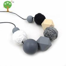 2017 new crochet voodoo ball necklace beaded necklace cotton for women fiber light jewelry 25mm woven black coffee NW212