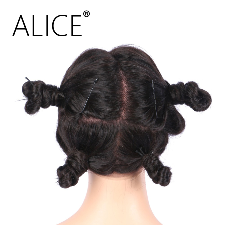 ALICE Peruvian Glueless Full Lace Wigs Body Wave 130 Density Natural Color Remy Human Hair Wigs Pre Plucked Hairline(China)