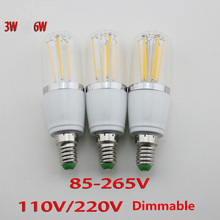 6pcs/lot Dimmable 3W 6W E27/E14 LED filament bulb Energy Saving LED filament lamp Epistar LED chip low consumption AC110-240V
