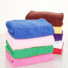 Hot 1Pc Candy Color Practical Luxury Soft Fiber Cotton Face Hand Bath Body Cloth Beach Towel Fast Drying 35*75cm Color Randomly(China)
