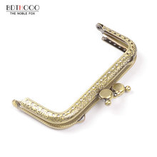 10.5cm Square Metal Purse Frame Handle for Clutch Bag Handbag Accessories Making Kiss Clasp Lock Antique Bronze Bags Hardware(China)