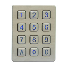 Rugged vandal proof illuminated 12 keys metal numeric keyboard Stainless steel keypad with leds for access control system, kiosk