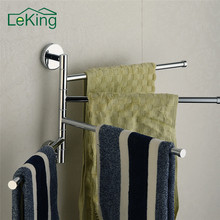 LeKing Stainless Steel Bathroom Towel Holder 4 Swivel Bath Racks Rail Hanger Bathroom Shelf Rotate Towel Hat Rack Home Storage(China)