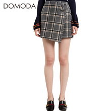 Buy DOMODA 2017 Fashion Skirts Women Sexy Sweet Slim Plaid Chic Asymmetrical Mini Skirt Metal Ring Buckle Sashes Elegant Skirts for $19.98 in AliExpress store