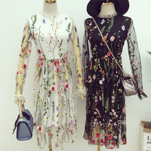 [Alphalmoda] Alpha customization Female Beautiful Embroidery Flower Perspective Gauze  Slim One-piece Dress with Lining Dress