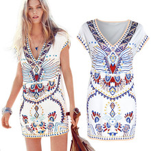 Hot Sale Retro Painting Dress New 2017 Summer Female Bohemian V- Neck Short Sleeve Sexy Mini Dress Hot Sales